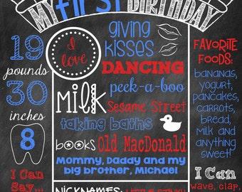 Baseball First Birthday Chalkboard First Birthday Poster Chalkboard Poster Baseball Sport Theme Chalk