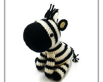 Crochet Cream Black Zebra Amigurumi - Striped Horse Stuffed Toy - Safari Animal Plushie - MADE TO ORDER