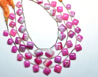 AAA 11-14mm Natural Sunset Pink Striped Agate Smooth Square FlatBack  Beads Strand-16 Beads Per Strand