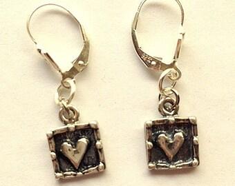 Artisan Style Sterling Silver Heart Earrings - Choice of Ear Wire