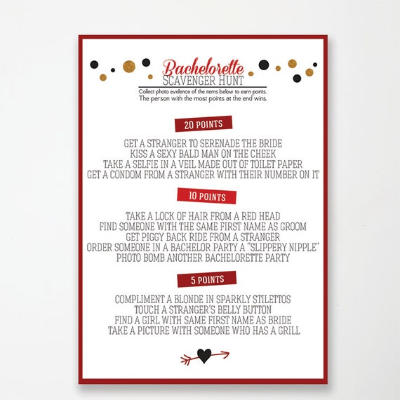 Printable Bachelorette Party Game: Photo Scavenger Hunt // red and black and gold glitter