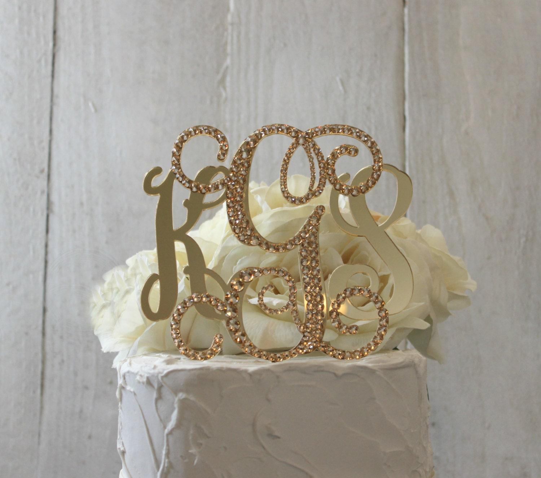 Gold 3 Initial Monogram Wedding Cake Topper GOLD Swarovski