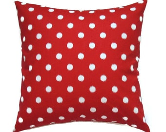 Red Pillow Cover, 18x18 Pillow Cover, Ikat Pillow, Dots Pillow Covers, Patriotic Decorative Pillows, Cushion Cover, Ikat Dots Lipstick