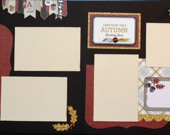 Together this Autumn having fun- premade scrapbook kit, 12x12 premade page kit, premade scrapbook pages, 12x12 scrapbook layout