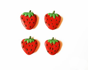 Strawberry Magnets - Kitchen Magnets - Food Magnet - Polymer Clay Magnet - Fruit Magnet - Refrigerator Magnet - Small Magnets