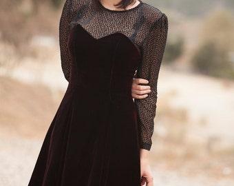 Vintage 80s Black Velvet Prom Party Evening Dress Size 10