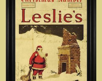 Santa Claus Art Print, Frank Leslie's Illustrated Newspaper, Vintage Christmas Catalog,  Old Fashioned Santa Poster