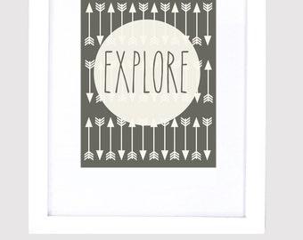 8x10 Explore Poster | Arrow Print | Digital File | Art Print | Printable File | Instant Download | Adventure Print | Home Decor