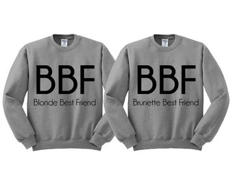 Grey Crewneck Blonde Best Friend Brunette Best Friend Sweatshirt, BFF Sweater Jumper Pullover, Best Friend Shirt, Best Friend Gift