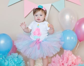 3D Cupcake 1st Birthday Tutu Outfit, Cotton Candy Birthday Outfit