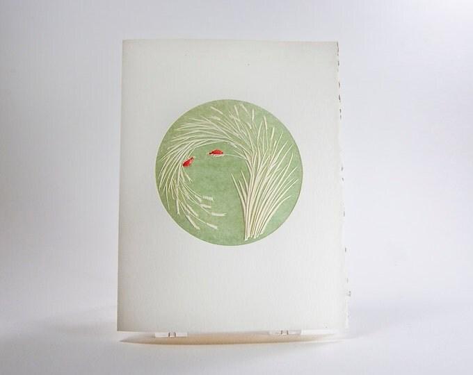Ladybugs Card. Love. Valentine. Letterpress. Embossed. Single Note Card. Blank Inside.