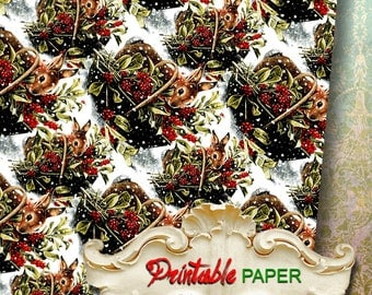 CHRISTMAS RABBIT - Printable wrapping paper for Scrapbooking, Creat - Download and Print