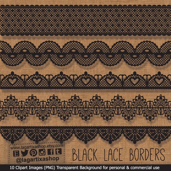 Lace Border Digital File Clipart PNG Clip Art Black Lace For Invitations Invites