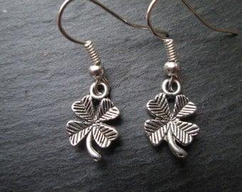 St. Patrick's Day Silver Shamrock Charm Earrings