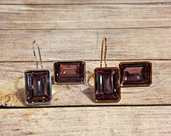 Amethyst Swarovski Crystal Earrings, Swarovski Crystal Earrings, Violet Earrings, Emerald Cut Earrings, Amethyst Earrings