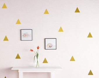"Triangle Wall Decal /Gold triangle Decal / 2.5"" triangle sticker / Kids wall decoration / nursery wall decal"
