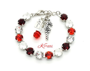 SWEET CANDY CANE 8mm Bracelet Made With Swarovski Crystal *Pick Your Finish™ *Karnas Design Studio *Free Shipping*