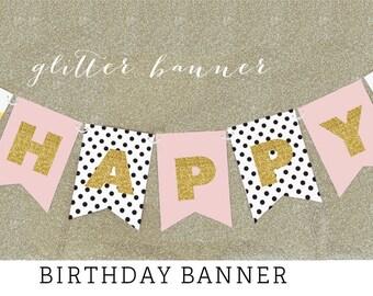 HAPPY BIRTHDAY Banner Gold Glitter  (EB3062BY) - Text:  Happy Birthday