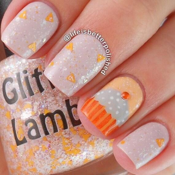 Pumpkin Cupcake: Glitter Topper Indie Fall Nail Polish Lacquer