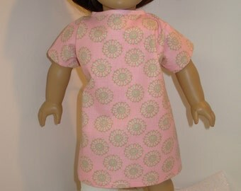 DOLL Hospital Gown, Fits All Dolls, 18 inch AG Dolls, 15 inch Bitty Baby Clothes/Twin! Pink with Cool Design, Let's Pretend Doc McStuffins!