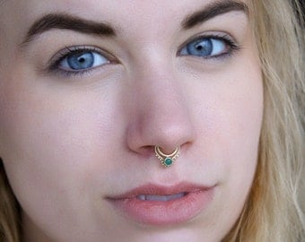 Fake Septum Ring - Faux Septum Ring - Fake Septum Piercing - Clip On Piercing - Septum Clip - Septum Jewelry - Nose Jewelry - Silver (SF33S)