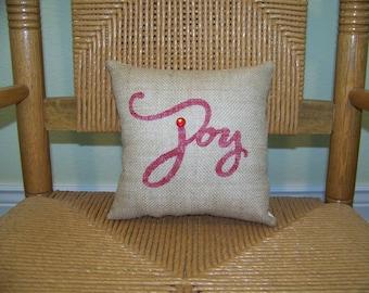 Joy pillow, Christmas pillow, Christmas decor, Burlap pillow, stenciled pillow, FREE SHIPPING!