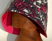 Modern pink cloche hat made of vintage 60's fabrics