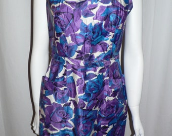 1950's  Rose Print Dress in Purple and Blue  by Osgood Dresses