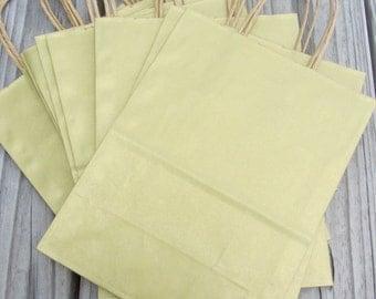 20 Pack- Metallic Gold Kraft Shopping Bag 8x4x10