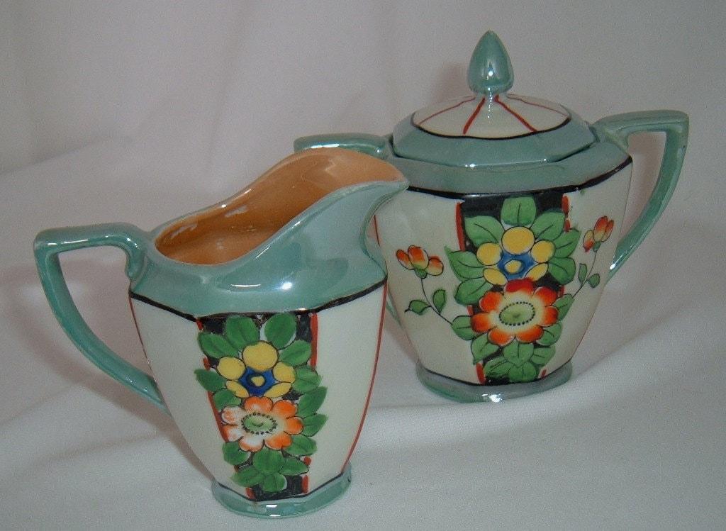 Vintage Lustreware Sugar And Creamer Art Deco Lusterware Made