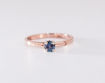 JUNE BIRTHSTONE RING - Rose Gold Ring and Chatham Alexandrite in white gold setting - 14k