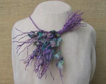 Unique necklace with pieces of silk cocoons-handmade necklace-Purple necklace