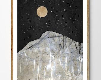 Quest - Mountain Art, Nature Art, Moon and Stars, Moon Art, Mixed Media Collage Art, Giclee Print