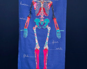 Oscar the human skeleton. Textile, fully embroidered.