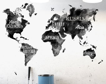 Watercolour world map wall decal large watercolor black white world map wall decal gumiabroncs Choice Image