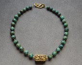 African Turquoise Necklace with Brass Tibet Bead, 27X16mm rectangle, with Vermeil S Hook Clasp