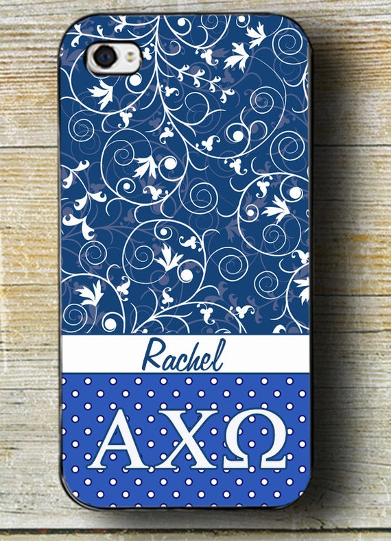 Alpha Chi Omega iPhone Case, Blue and White with Personalization; fits ...