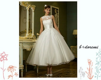 Vintage 1950s Style Tea Length Lace and Tulle Wedding Dress with Open V back and with Illusion Neckline