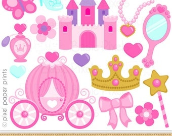 Princess Elements Clip Art - Pink Princess clipart -commercial use