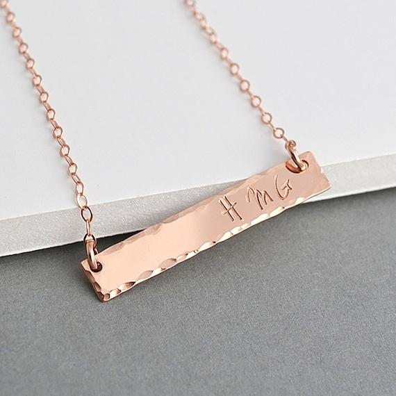 rose gold bar necklace hammered name necklace horizontal. Black Bedroom Furniture Sets. Home Design Ideas