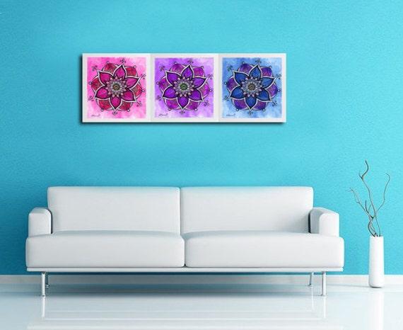 purple blue pink 3 piece wall decor mandala painting large