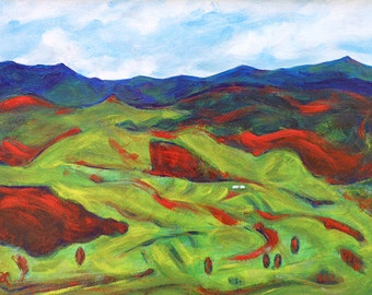 Commission an original painting based on my NZ landscape 'The green, green grass of home', custom order, painting on canvas, free shipping