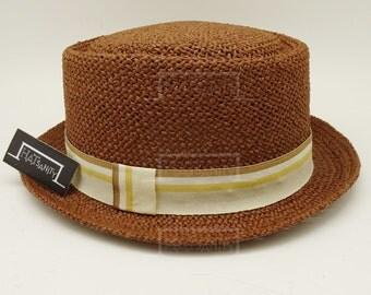 Summer Beach Straw PORK PIE HAT - Brown