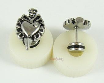 Heart sword earrings, heart stud earrings, sword stud earrings, heart earrings, ribbon stud earrings, sword earrings, unique studs,  ER416