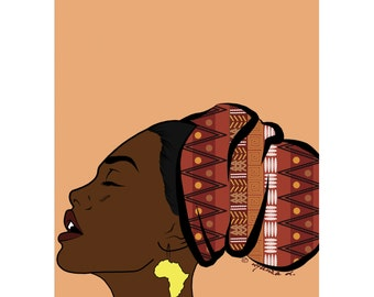 West African girl 'Basking in the Light' pop art poster print