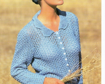 Cardigan 32-42 inch 4 Ply Ladies Knitting Pattern PDF instant download