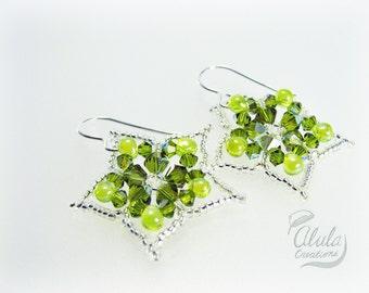 Starfruit Earrings, Star Earrings, Swarovski Drop Earrings, Star Dangle Earrings, Flower Earrings, Beaded Drop Earrings, イヤリング, ピアス