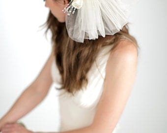 Silk Floral Back Piece with Tulle Pouf Veil, Bridal Veil, Wedding Accessories, Floral Comb with Veil, Style No. 4146