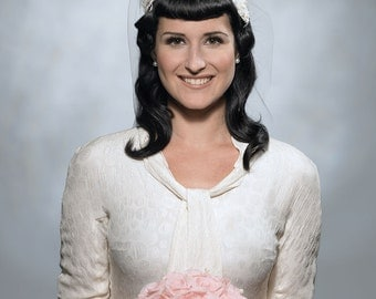 wedding fascinator with lace - handmade