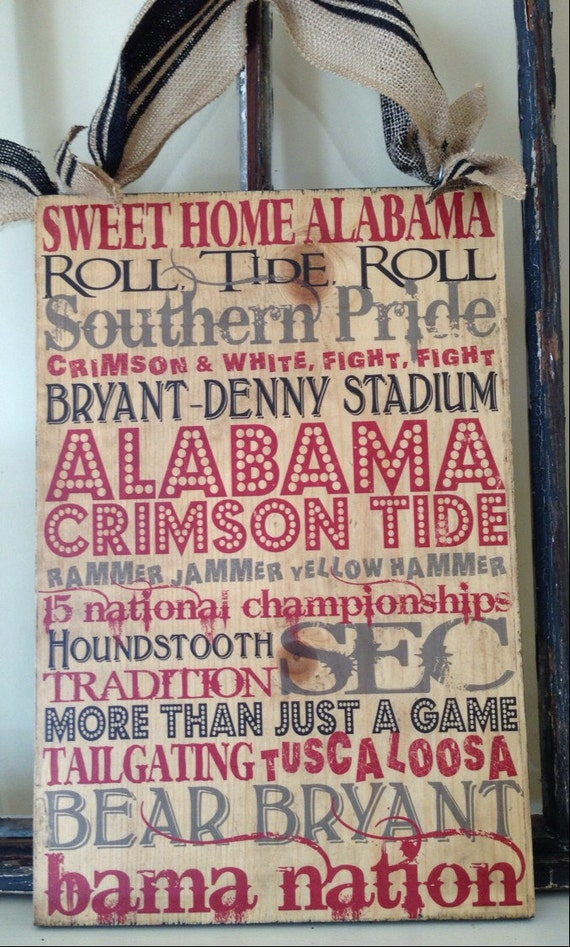University of alabama typography crimson tide art on wood for Alabama football wall mural